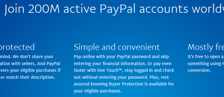 Over 200M active PayPal accounts